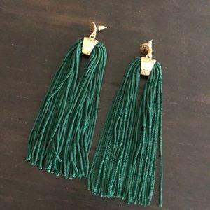 Forest green tassel earrings